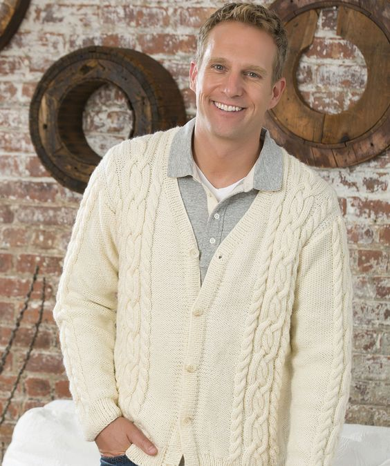 Knitting Pattern Guy : Man s Cardigan Free Knitting Pattern #RedHeart #Niki # ...