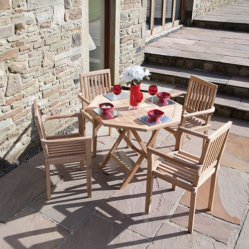 Well isn't this quaint! We adore this Derwent Superior Quality Teak Four Place Garden / Patio Dining Set