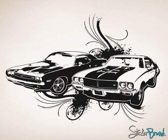 Vinyl Wall Decal Sticker 70s American Muscle Cars OSAA124B
