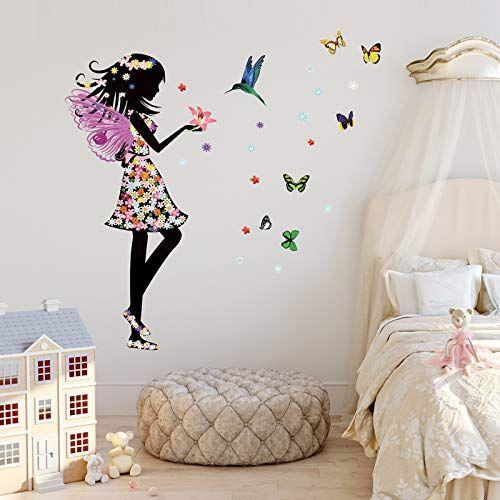 Beautiful Flower Fairy Birds Butterflies Wall Decal Sticker For