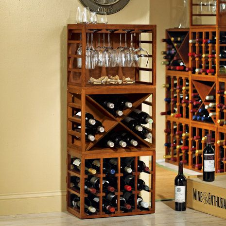 Cube-Stack Wine Bottle & Stemware Rack Set (Walnut Stain) at Wine Enthusiast - $174.95