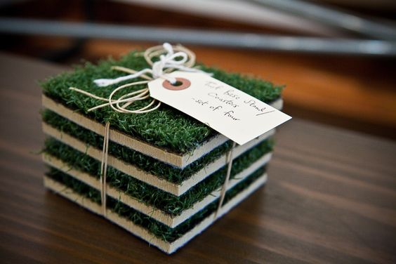 """""""Every Man Cave needs a little grass in it, even if it is artificial.""""  Thanks @Uber Apparatus for featuring our Turf Base Coasters."""