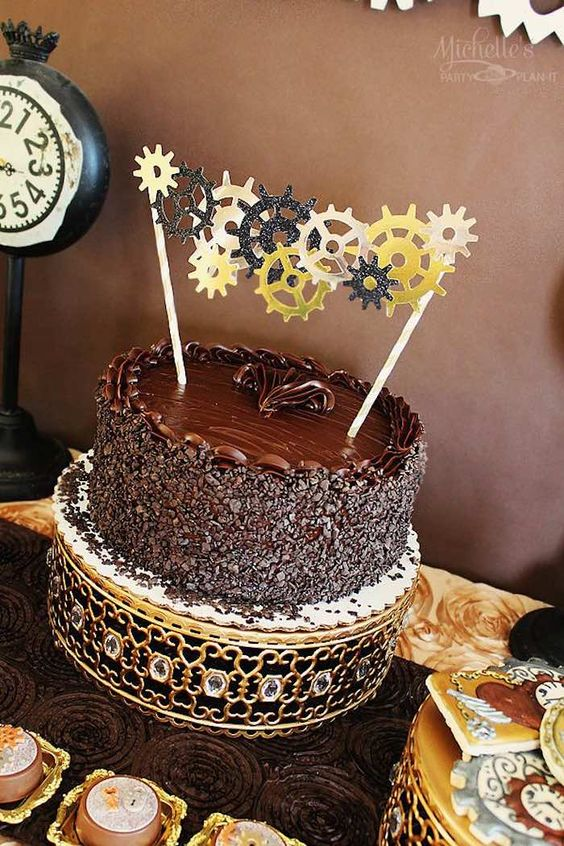 """""""Stopping Time... Forever Thirty Nine"""" Steampunk Birthday Party via Kara's Party Ideas KarasPartyIdeas.com Cake, decor, party supplies, tutorials, invitation, and more! #steampunk #steampunkparty #timeparty #clockparty #gears #clocks #adultbirthdayparty #stoppingtime (9)"""