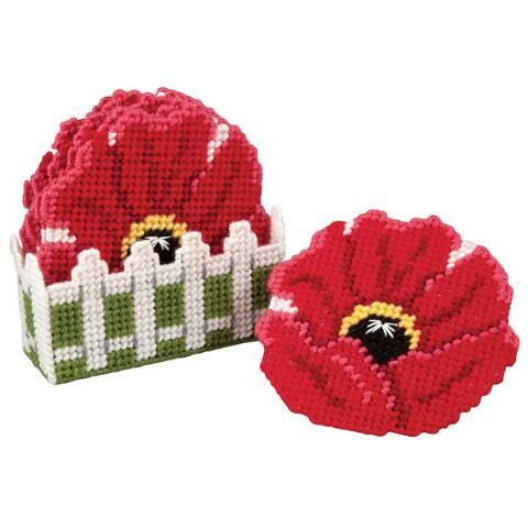 Craftways® Poppies with Fence Coasters With Holder Plastic Canvas Kit Was: $16.00                     Now: $12.99: