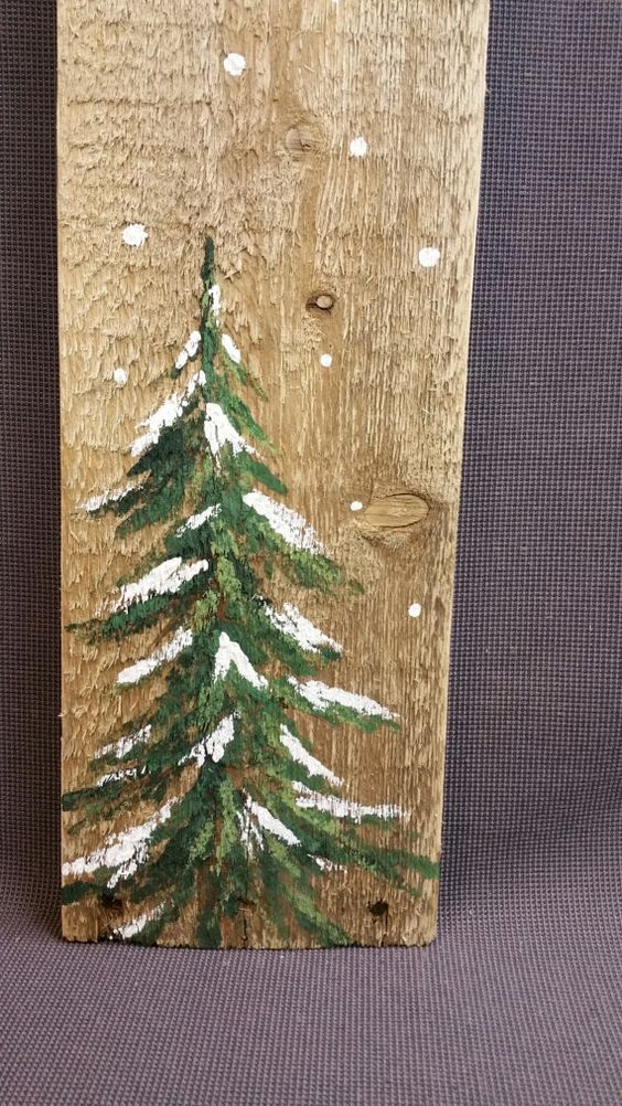 Christmas Winter Reclaimed Wood Pallet Art, Let It Snow, Hand painted Pine tree,Christmas decorations, upcycled shabby chic, GIFTS UNDER 20: