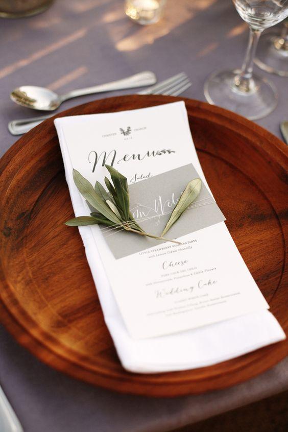 Wooden charger + calligraphy menu. Whim Event Rentals + Jill Velez.