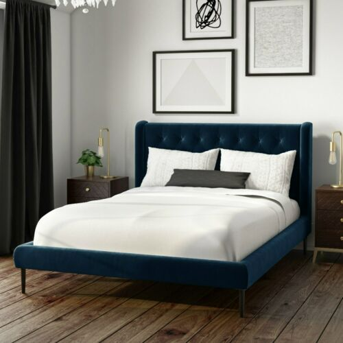 Details About Amara Double Bed Frame In Navy Blue Velvet With