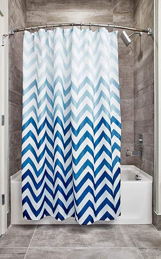 Amazon Com Idesign Ombre Chevron Fabric Shower Curtain Modern