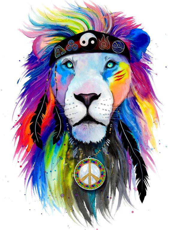 """Introducing our New """"Hippie Lion"""" Crew-Neck! Life changing hand drawn art from…"""