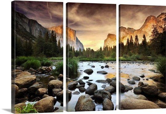 Valley At Sunset Yosemite Landscape Art Yosemite Wall Art