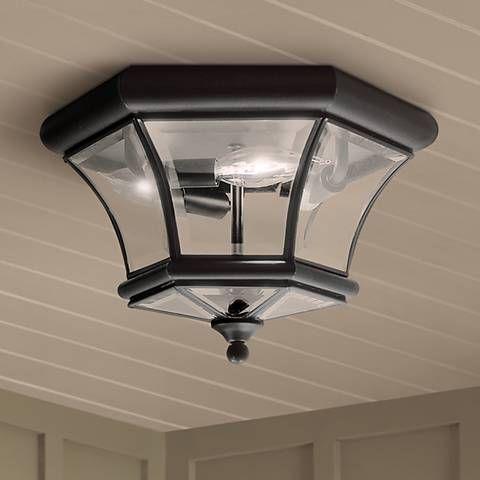 Monterey 12 1 2 Wide Black Outdoor Ceiling Light 42p51 Lamps Plus Ceiling Lights Outdoor Ceiling Lights Porch Light Fixtures