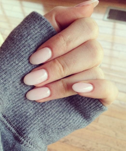 soft pink with almond shaped acrylics. Love the look of the almond shape but don't think I could pull it off!