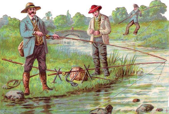 Oblaten Glanzbild scrap die cut chromo Fischer  15,5cm Angeln Fischen Mann Bach: