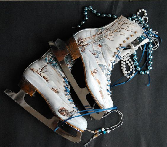 Painted Snow Scene on Ice Skates by artthatglitters on Etsy