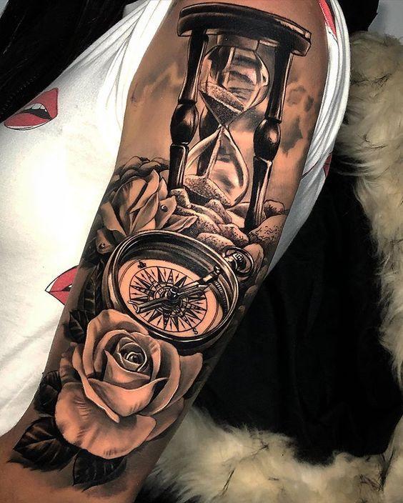 Tattoo unterarm mann sanduhr
