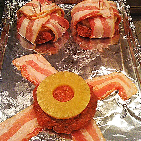 Pineapple barbecue bacon burgers - These remind me of Ron Swanson, except he would take off the pineapple and add all the bacon he had.
