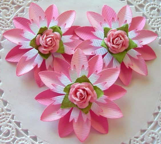 Paper flowers rose pink set of 3 gift wrapping flower for Handmade paper flowers tutorial