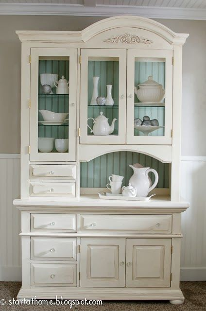 This would be a good idea for kitchen cabinets as well - white on the outside, pale aqua on the inside