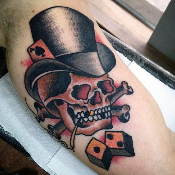 Old School Skull With Top Hat And Dice Mens Traditional Arm Tattoos Skull Tattoo Design Skull Tattoo Tattoos For Guys
