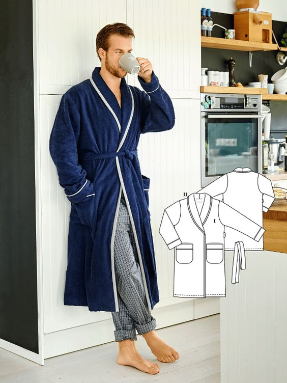 A touch of the classic British silk dressing gown with piping and exaggerated trim, though it is sewn with a comfortable terry cloth. Any guy would be quite happy to find this bath robe under the Christmas tree! #burdastyle #mens #sewing #diy #robe