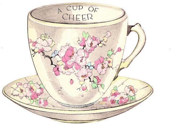 vintage tea cup greeting card   Tea Party   Pinterest ...