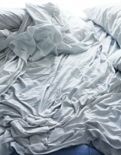 Messy white bed