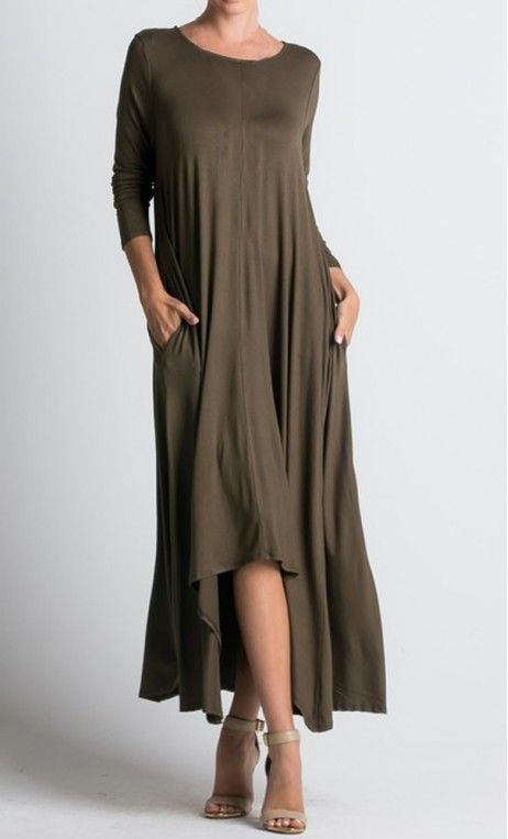 A modest hi-lo draped dress with side pockets, round neckline and long sleeves in olive S-L