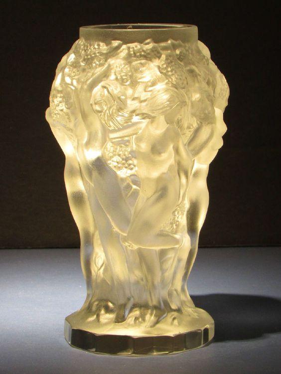 NIB Desna Vase Dancing Nudes Art Glass Schlevogt Hoffman Art Nouveau Deco Czech