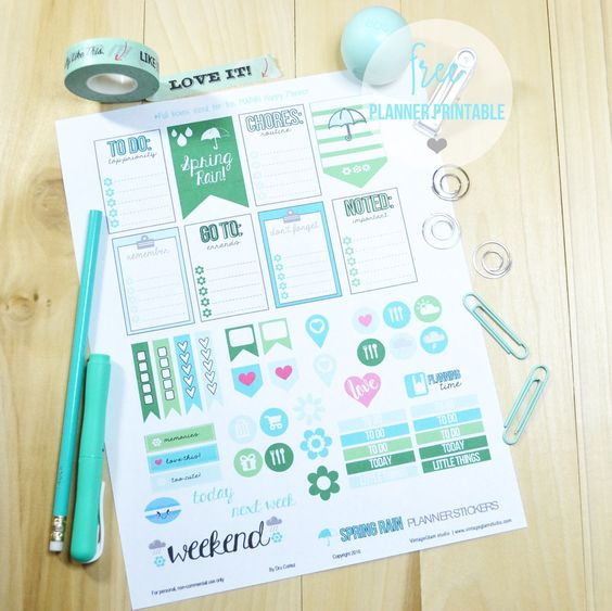 Spring Rain Planner Stickers | Printable preview