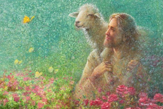 Yongsung Kim con Impresión de lona de el señor Jesús con ovejas, Rosas y Mariposas | eBay
