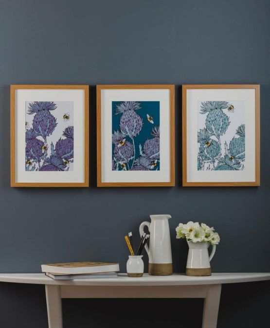 Gillian Kyle Scottish Wall Art Jaggy Thistles Indigo Print Scottish Decor Scottish Interiors Thistle Print