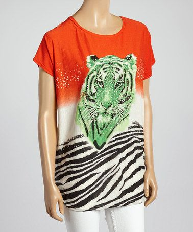 Another great find on #zulily! Red & Cream Tiger Linen-Blend Dolman Top #zulilyfinds