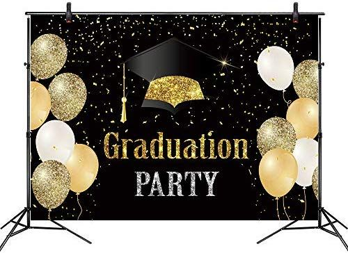 Leyiyi 8x8ft Class of 2020 Backdrop Gold Bachelor Cap Golden and Sliver Ribbon Congrats Grad Photography Background Class Graduation Prom Party Banner Vinyl Photo Studio Props