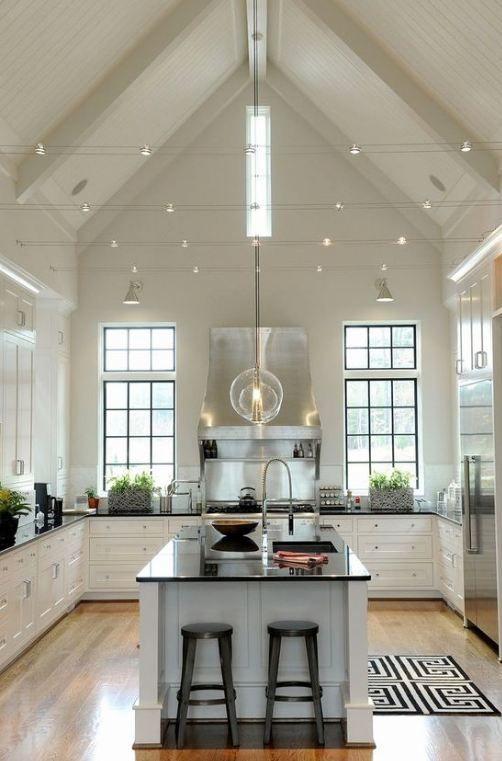 50 Vaulted Ceiling Image Ideas Make Room Spacious Casanesia Vaultedceilingdeco Vaulted Ceiling Kitchen Vaulted Ceiling Lighting Kitchen With High Ceilings