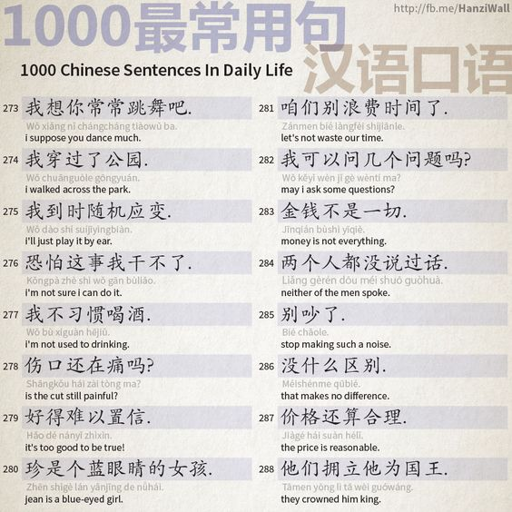 1000 Chinese Sentences In Daily Life Part 18