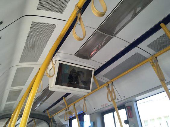 Телевизор в трамвае PESA, к сожалению, крутят рекламу, остановки не показывает
