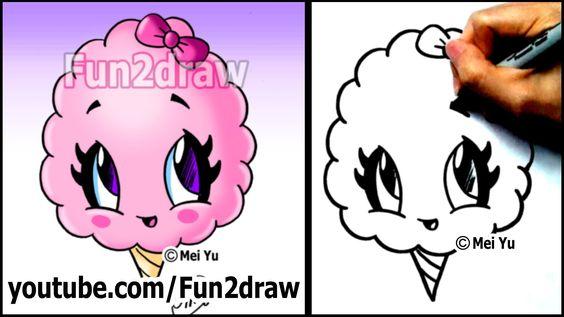 Cotton Candy Treat Summer Snacks Cartoon Art Drawing