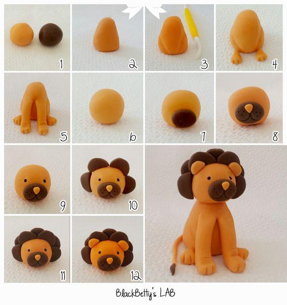 Sugar paste lion tutorial - tutorial leon in pasta di zucchero