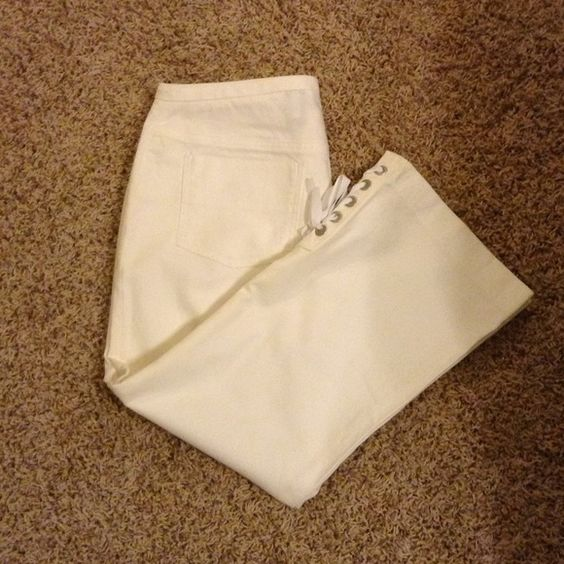 Express white stretch capris with detailed bottom
