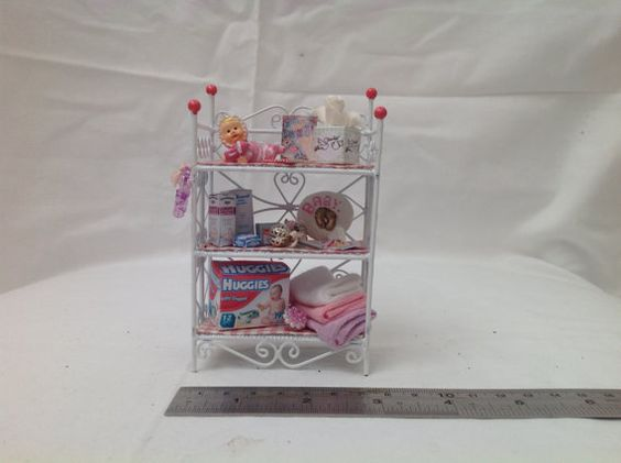 Dolls House Miniatures White Wire Baby от LittleHouseAtPriory
