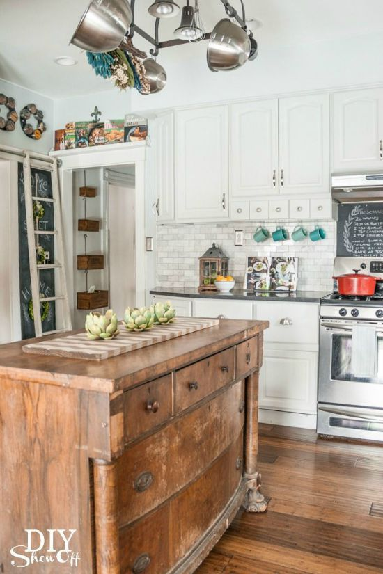 Love all of these unique kitchen island ideas including this antique chest of drawers!