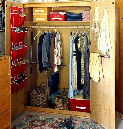 Storage ideas for dorm room closets include shoe racks, shelving, and baskets.