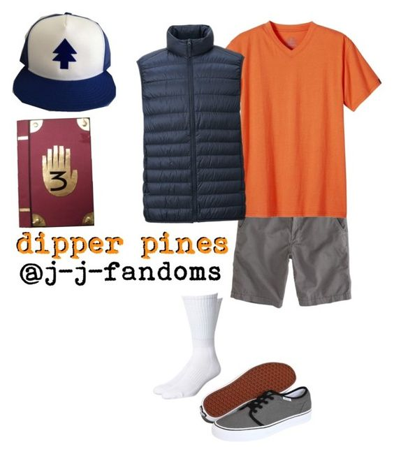 """dipper pines"" by j-j-fandoms ❤ liked on Polyvore featuring American Eagle Outfitters, prAna, Uniqlo, Vans, Swell, men's fashion and menswear"