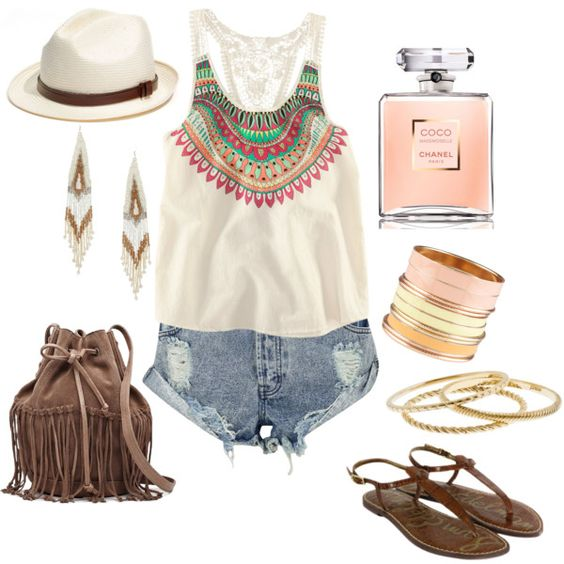 So cute!: Tanks Tan, Boho Summer, Cute Outfits, Festival Style, Spring Summer, Summer Outfits, Entire Outfit, Pinterest Closet, Summer Time