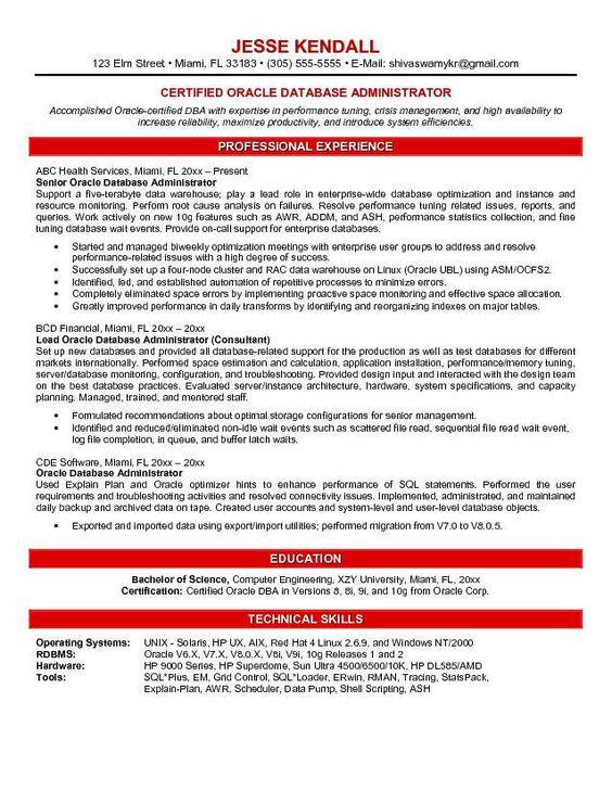 Resume Senior Dba Sql Server - Opinion of experts Games - sql server resume