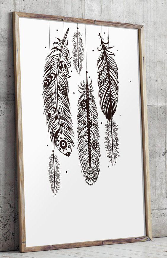 Bohemian wall art feather wall art bohemian by TwoBrushesDesigns #feathers
