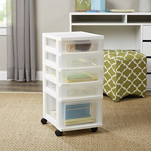 4 Shallow And 1 Deep Drawer Chest Storage Container