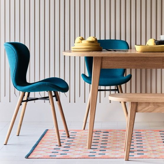 Etta Chair Teal Blue Fabric Upholstered Dining Chair With Solid