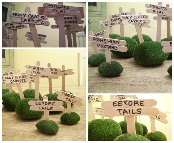 Winnie the Pooh party food signs {use moss at bottom and break the ends of the signs}: