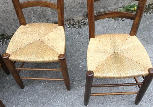 Srie De 8 Chaises En Bois Et En Paille De Style Chalet Des Annes 50 In 2020 Wicker Chair Wishbone Chair Wicker